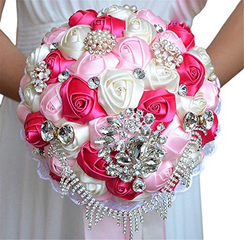 Quibine Bouquet Artificiel Rose Satin Cristal orné Perle Rhinestone Strass Chaîne pour Mariée Demoiselles d'honneur, Rose + Pink + Crème