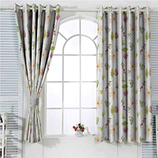 hengshu Floral Blackout Shades Curtains Watercolor Style Pelargonium Flower Petal Paintbrush Effect Essence Image for Window Curtains Valances W107 x L107 Inch Peach Pink Fern Green