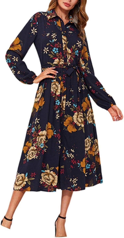 PursuitofselfCA Self Tie Fit & Flare Botanical Shirt Dress Black Lapel Long Sleeve