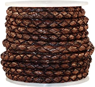 cords craft 3.0m 4 Ply Round Braided Genuine Leather Cord, Dark Brown Color, Hand Braided, Roll of 5 Meters