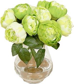 Farantasy造花ファッション美しい現実的な1ブーケ6ヘッド人工牡丹シルクフラワーリーフホームウェディングパーティー装飾ホーム結婚式の装飾人工花
