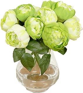 Gotian 1 Bouquet 6 Heads Artificial Peony Silk Flower Leaf Home Wedding Party Decor (Green)