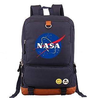 Unisexo Mochila Escolar Informal Moda NASA Mochila para computadora portátil Impresa Mochila Multifuncional Mochila de Libro Bolsa de Senderismo Armada