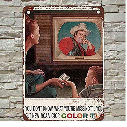 Kilburn 1960 RCA Victor Farbfernseher Bonanza Retro kreative Wanddekoration Persönlichkeit Trend Hintergrund Schlichter Stil Eisen Gemälde