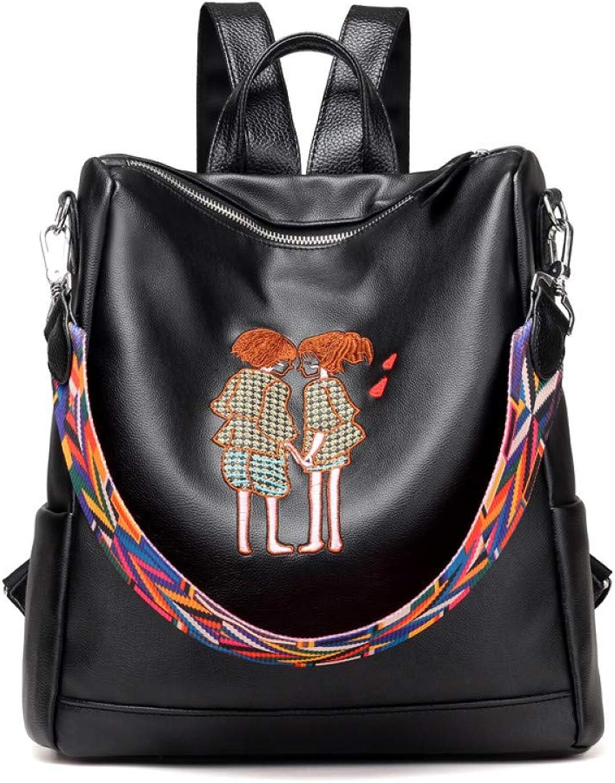 5f804d8bbeaa HUYANNABAO Embroidered Backpacks Women Pu Leather Shoulder Bag ...