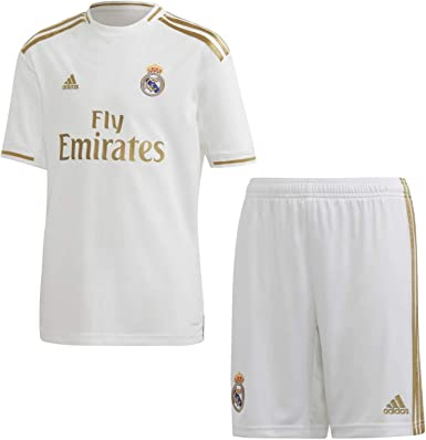 adidas Real Madrid 2019/20 Kids Football Home Kit Set White/Gold