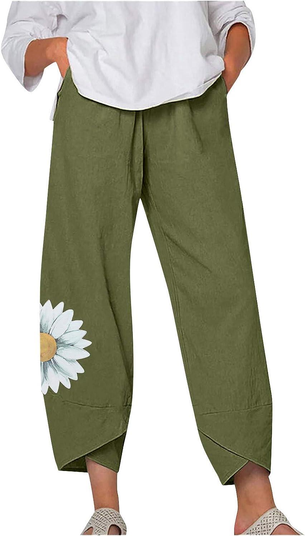 Toeava Capri Pants for Women,Women Daisy Print Comfy Palazzo Elastic Waist Wide Leg Pants Loose Pocket Cropped Trousers