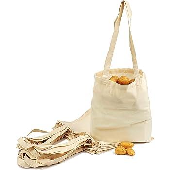 ELES VIDA Bolsa de algodón, 38 x 42 cm, 10 Unidades, sin Estampar, Bolsa de Tela, Bolsa, Bolsa de Yute con Certificado Oeko-Tex® (Blanco): Amazon.es: Hogar