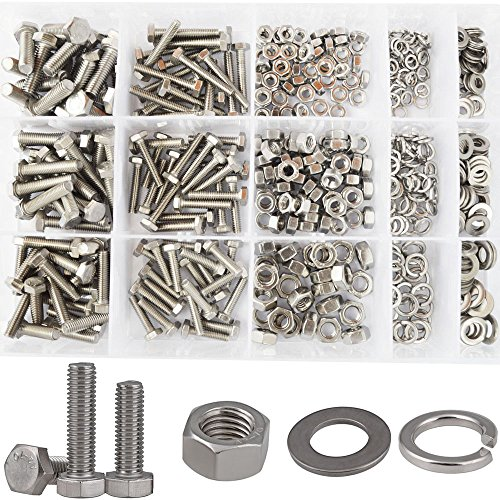 Hex Flat Head Bolts Metric Screws Nuts Hardware Flat and Lock Washers SAE Assortment Kit 304 Stainless Steel,510pcs M4 M5 M6
