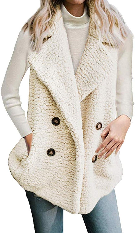Women's Calsual Jacket with Pocket Winter Sleeveless Vest Ladies Coat Overcoat (color   Beige, Size   XXXL)