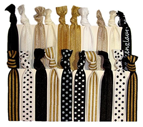 "Hair Ties Ponytail Holders - 20 Pack""Sophisticated"" Black White Gold Dots Stripes No Crease Ouchless Elastic Styling Accessories Pony Tail Elastics Holder Ribbon Bands - By Kenz Laurenz"