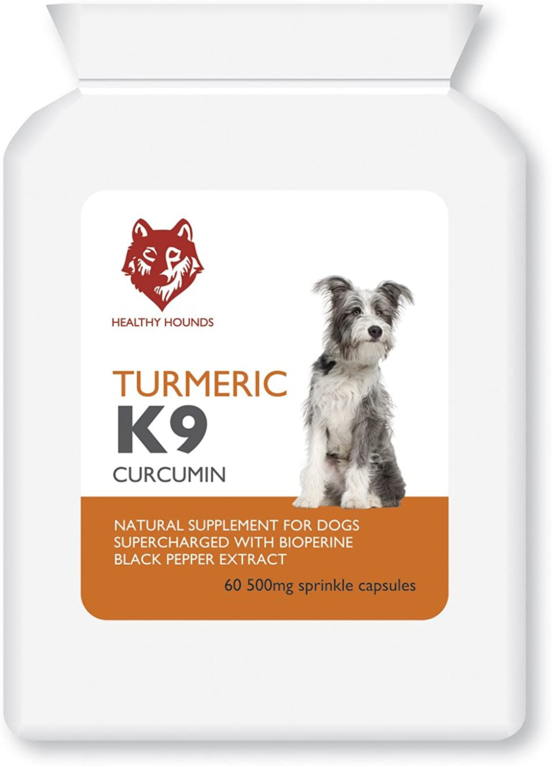 Healthy Hounds Organic Turmeric Curcumin for Dogs and Pets 500mg Equivalent to 10 000mg Whole Turmeric with Active Bioperine Black Pepper extract   Joint and Hips   60 Sprinkle caps   UK product