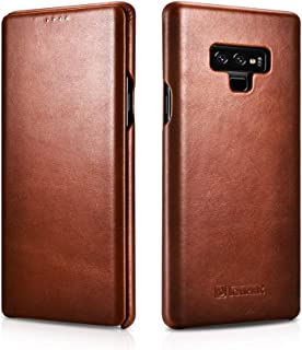 Compatible Note 9 Real Leather Case, ICARER Classic Cowhide Flip Case for Samsung Galaxy Note 9 – Brown