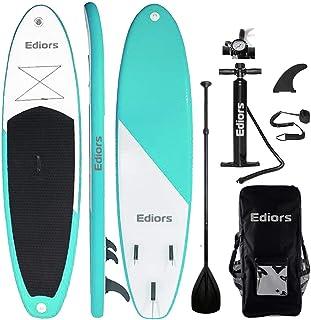 充气 SUP 立桨板桨(15.24 厘米厚)通用配件宽姿势带底部脚蹼冲浪控制 | 防滑甲板 | 可调节桨 | 手泵 带压力说明