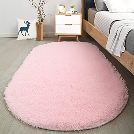 Amazon Com Softlife Fluffy Rugs For Bedroom Shag Cute Area Rug For Girls And Kids Baby Room Home Decor 2 6 X 5 3 Feet Oval Indoor Carpet For Nursery Dorm Living Room Pink Home