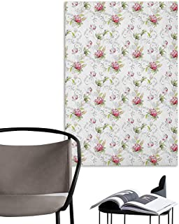Self Adhesive Wallpaper for Home Bedroom Decor Floral Art Nouveau Style Nature Illustration Vivid Color Romance Prosperity Marriage Green Pink Grey Home Decor W20 x H28