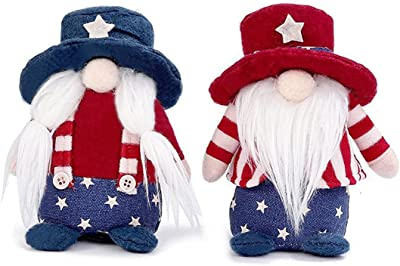 Jofan 2 Pack 4th of July Patriotic Plush Gnomes Independence Day Decorations for Kids Play Table Ornament
