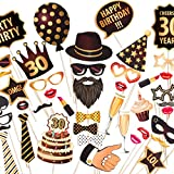 ZEZAZU Happy 30th Birthday Party Photo Booth Props - Made in Europe - Funny DIY Kit 44 Pieces Luxury Edition with Real Glitter