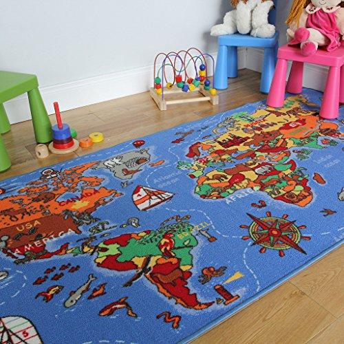 Lehrreiche UNTERHALTSAME farbenfrohe Weltkarte Spielteppich Länder & Meere Kinderteppich 95x200cm