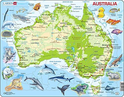 A31 Mapa físico de Australia, edición en Inglés, Puzzle de Marco con 65 Piezas