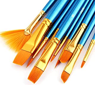 AOOK 10 Pieces Paint Brush Set Professional Paint Brushes Artist for Watercolor Oil Acrylic Painting blue AOOKBrush01