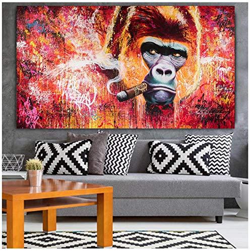 Wandkunst Graffiti Monkey Gorilla Smoking Gemälde Street Art Ölgemälde, Leinwand Moderne Pop Poster Bild An Der Wand 70X120 Cm Ungerahmt