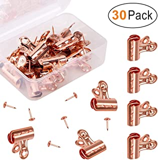Push Pins Clips 30-Count, 30 Pack Bulldog Clips with Push Pins for Photos Pictures Papers Documents Used on Cork Boards, Bulletin Boards and Cubicle Walls, Rose Gold
