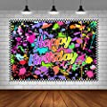 Lofaris Neno Glow in The Dark Birthday Party Photography Backdrops Colorful Graffiti Splash Paint Background Slime Happy Birthday Black Light Sleppover Party Decorations for Kids Birthday Supplies from Lofaris