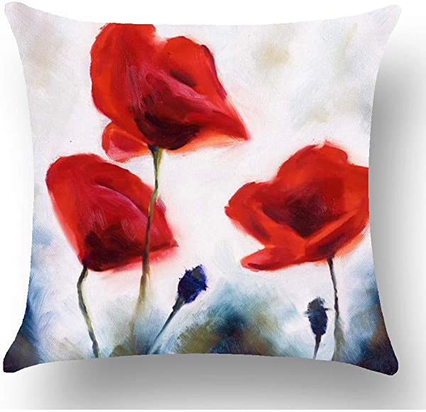 GOOESING Ink Oil Painting Red Poppy Flowers Retro Grey Background Mother S Day Pillow Case Pillow Cover 50 Cotton 50 Polyester Size 24x24 Inches