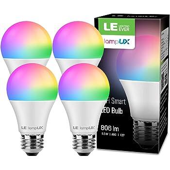 LE WiFi E27 Lampe, 8.5W Dimmbar Smart WLAN LED Birne 806LM, Intelligente Mehrfarbige Glühbirne 2700-6500K, kompatibel mit Alexa(Echo, Echo Dot) und Google Home, Kein Gateway erforderlich, RGBW, 4er