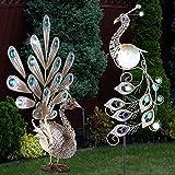LED Solar Pfau Gartendeko Figur Solarleuchte Dekorsteine Steckleuchte 2er Set