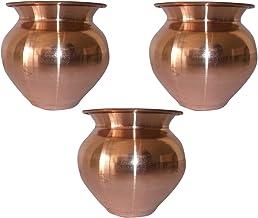 SHIV SHAKTI ARTS 3.5 * 3.25 * 3.5 in Handmade 100% Pure Copper Pot Volume 300 ML Set of 3 Small Copper Pooja Kalash for Yoga Surya Namskar Storage Water Indian Yoga Ayurveda for Good Health