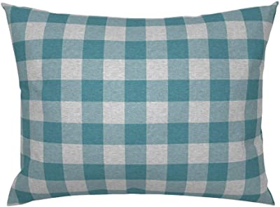 Roostery Pillow Sham Teal Grey Plaid Check Buffalo Print 100 Cotton Sateen 26in X 26in Knife Edge Sham Home Kitchen