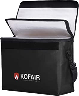 Kofair Large Fireproof Bag (16 x 12 x 5.5 inches), XL Fireproof Document Bags with 100% Opening & Soft Handle, Non-itchy F...