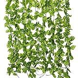 Tifuly 10 Pack * 7.55 Pies Hiedra Artificial Hojas Guirnaldas Colgantes Verdor Falso Seda Follaje Vides para Hogar Cocina Jardín Oficina Oficina Boda Decoración de la Pared,Eneldo Verde