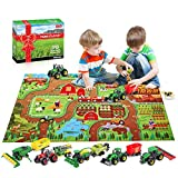 Oriate Farm Tractor Toys Diecast Vehicle 38 Piece Playset w/ Activity Play Mat & Farm Animal, Realistic Educational DIY Farm Vehicle Set for Kids Including Harvester, Trailer, Cow