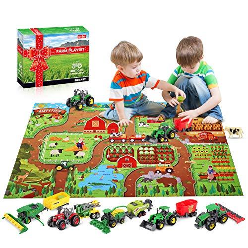 Oriate Farm Tractor Toys Diecast Vehicle 38 Piece Playset w/ Activity Play Mat & Farm Animal, Realistic Educational DIY Farm Vehicle Set for Kids Including Harvester, Trailer, Cow