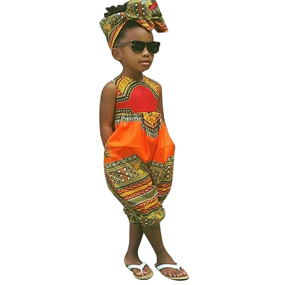 Girls National Style Outfits Clothes, 2019 African Print Sleeveless Romper Jumpsuit Headband Summer Clothes Outfit