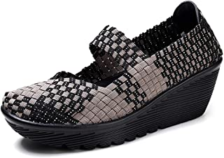 aa48ec71732a HKR Womens Wedge Platform Sandals Woven Mary Jane Pumps Comfortable Working  Shoes
