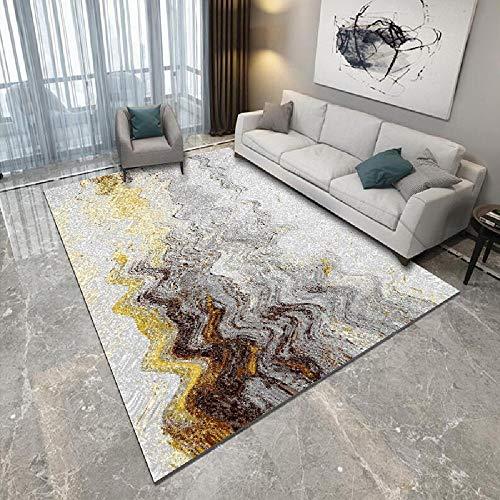 Alfombras alfombras Infantil Alfombra Duradera Antideslizante con diseño de Tinta Amarilla Negra Gris Alfombra habitación Matrimonio Decoracion Cocina 160X230CM