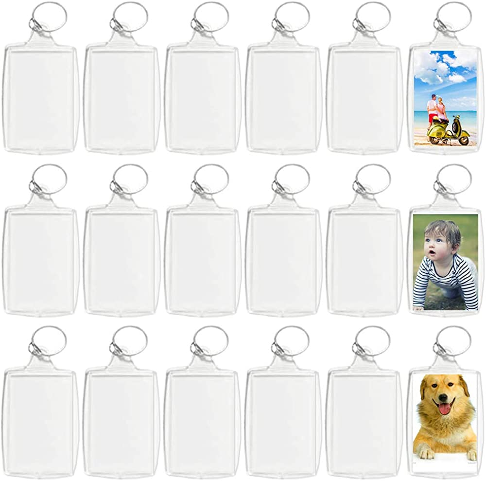 30 Pcs Acrylic Photo Frame Keyrings,Clear Picture Insert Keychains,Snap-in Custom Personalized Keychain for Gift,Artwork (Rectangle,1.5 x 2.1 Inch)