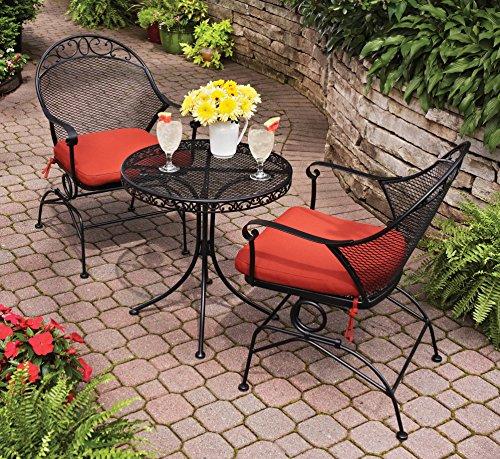 Outdoor Wrought Iron Bistro Set W/FREE Cushions
