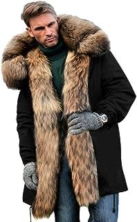 Mens Winter Warm Thick Faux Fur Slim Trench Coat Long Jacket Parka Hooded Pea Coat Winter Coat S-XXXL