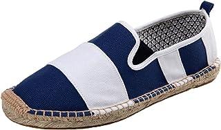Hommes Espadrilles Stripe Patchwork Chaussures De Toile De Mode Antidérapantes Slip-on Low-Top Loisirs Mocassins Légers