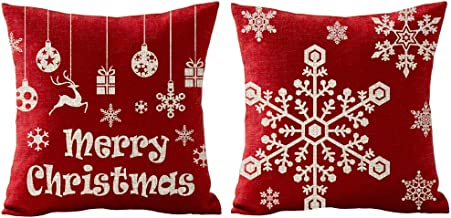 Red Snowflake Merry Christmas Antlers Reindeer Gift Holiday Cotton Linen Throw Pillow Covers Case Cushion Cover Sofa Decorative Square 18x18 inch Decorative Pillow Wedding Birthday