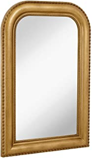 Hamilton Hills Thick Rounded Top Gold Rich Framed Wall Mirror 36