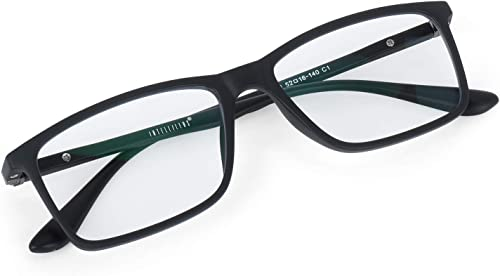 Intellilens® Square Unisex Blue Cut Spectacles With Anti-glare for Eye Protection (Zero Power, Black) product image
