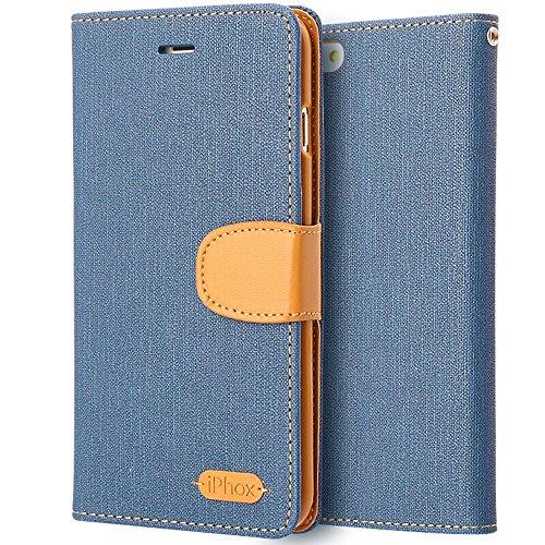 Cover iPhone 6 Plus / 6S Plus, IPHOX Flip Custodia Caso Libro Pelle PU e TPU Silicone con Funzione Supporto Chiusura Magnetica Portafoglio Libretto Bumper Custodia per Apple iPhone 6P / 6SP (Blue)