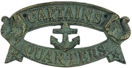 "Hampton Nautical Cast Iron Decoration Captain's Quarters Sign Metal Wall Plaque, 9"", Antique Bronze"