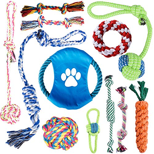 Oziral Dog Rope Toys [12 Pack] Puppy Braided Rope Toys Set Pet Dog Teeth Cleaning Gift Chew Durable Interactive Cotton Toys Aggressive Chewers Dental Health for Small/Medium/Large Dog Playing